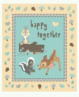 Bambi Happy Together Quilt Panel..*new*...cute...in Stock...free Post. ..