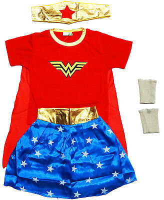 New Size 2-12 Costumes Wonder Woman Children Party Dress Superheroes Girls