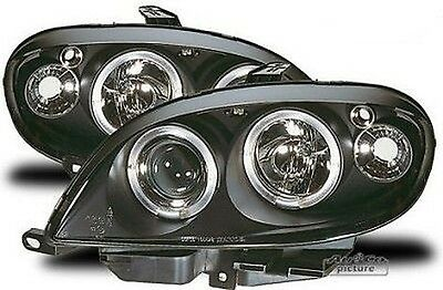 Pair of of headlights with Angel Eyes Citroën Saxo Phase Black