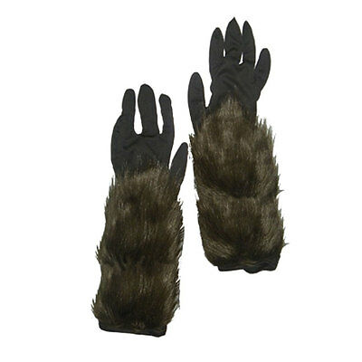 Werewolf Gloves Hairy Hand Costume Animal Wolf Halloween Wolverine Brown Fur Men