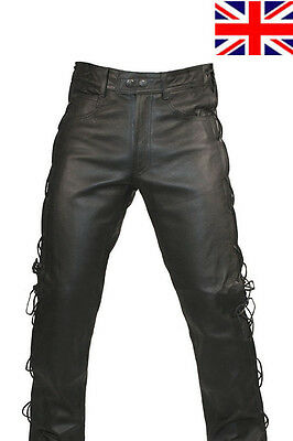 Mens Black Real Leather Motorcycle Jeans Style Side Laces Biker Trouser Pants