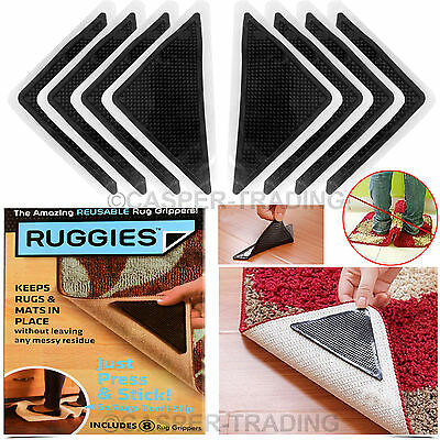 4 X Rug Carpet Mat Grippers Ruggies Non Slip Skid Reusable Washable Grips Pack
