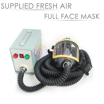 FRESH AIR Supplied Full Face Fed Breathing Paint Mask Respirator w/ 30L/Min Flow