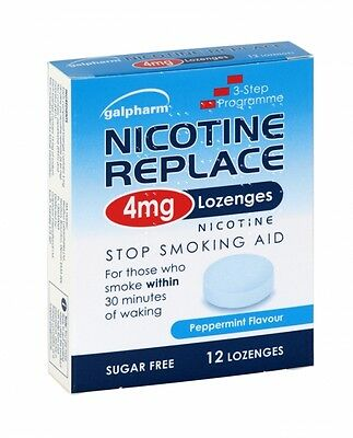 Nicotine Replace 4mg 12 Lozenges Peppermint Stop Smoking Aid - Price From £2.26