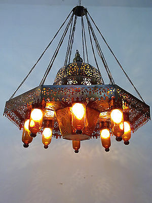 BR383 Large Moroccan Pendant Brass Chandelier Hand-Blown AMBER GLASS INSERTS • CAD $535.50