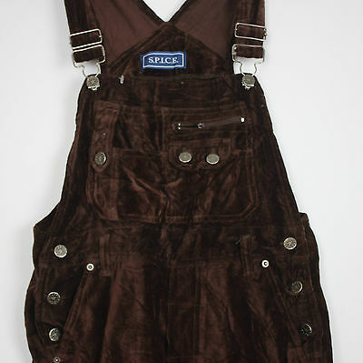 Vintage Brown Velour Ladies Dungarees Womens Playsuit Urban Grunge Girls 90s S