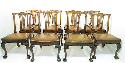 A   Set Of 8  Chippendale Mahogany Ball and Claw Dining  Chairs Circa 1910