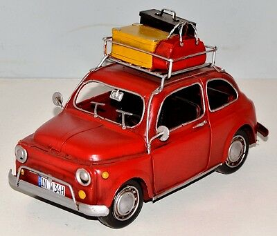 Fiat 500 um 1960 Tin Car Vintage Metal Model Tin Model Car approx. 24 cm 37887