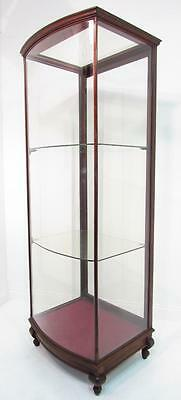 Tall Antique 19thC Mahogany Bow Fronted Glazed Freestanding Shop Display Cabinet