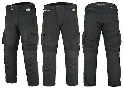 Mens CE Armoured Textile Cordura Motorcycle Motorbike Waterproof Trousers Pants