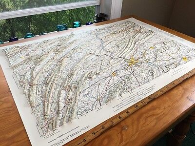 """Harrisburg Pa Map 3-D Army Corps Map 1969 Topographical 30""""x 20 1/2"""" Plastic"""