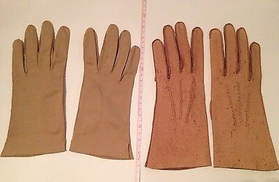 2 Pairs Vintage (1960's?) Gloves - Leather And Cotton