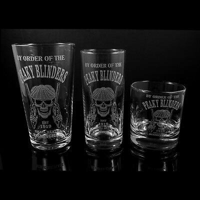 Peaky Blinders Skull, Engraved Glasses - FREE UK Post