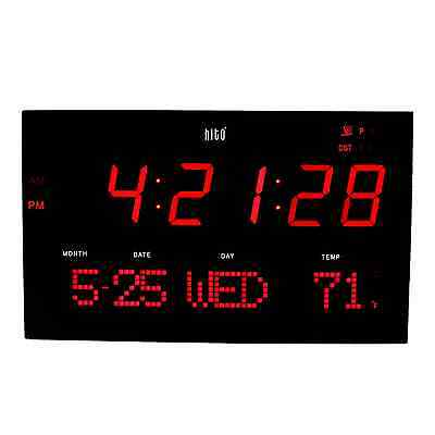 hito Extra Large Atomic Radio Controlled LED Wall Clock (Red)