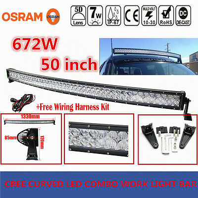 5D OSRAM 50INCH 672W LED Curved Combo Work Light Bar Offroad Driving Lamps Wire