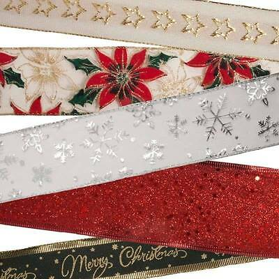 NEW 23 STYLE Wide Wired Christmas Ribbon 38 63mm Decoration Bow