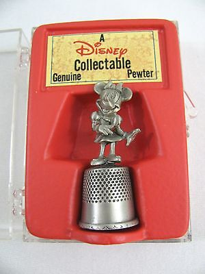 Disney Collectible Genuine Pewter Minnie Mouse Thimble in Box 3D Timble Vtg