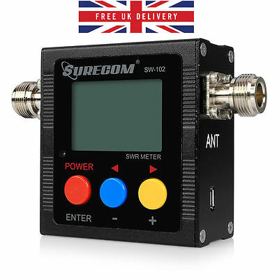 UK Surecom SW-102 125-525Mhz Digital VHF UHF Antenna Power SWR Meter For Radio