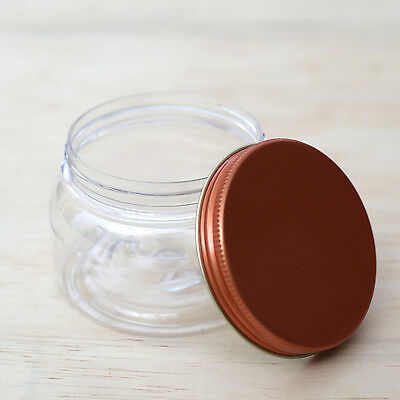x6 qty 450g CLEAR PLASTIC PET JARS with copper screw top lid - Christmas gifts