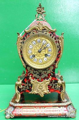 ANTIQUE FRENCH TWO TRAIN 8 DAY BOULLE BRACKET BOUDIOR MANTLE CLOCK 1880c