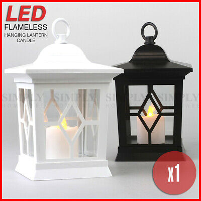 LED Flameless Hanging Lantern Candle Holder Pillar Flickering Light Battery