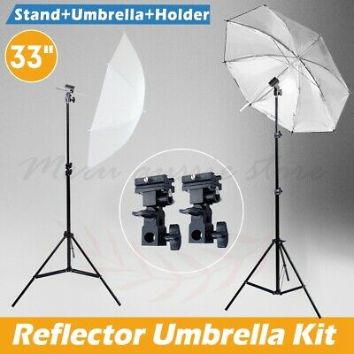 Photo Studio Speedlite Flash Umbrella Reflector Lighting Stand Set & Mount B Kit