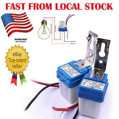 2Pc AC DC 12V 10A Auto On Off Photocell Street Light Sensor Switch Photoswitch