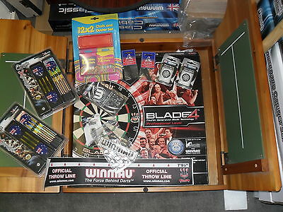 Winmau Blade 4 Competition Dart Board with Wood Cabinet and Extras
