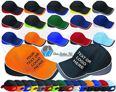 Teamwear Baseball Cap Sun Hat Sport Cotton Contrast Team Plain Or Embroidered