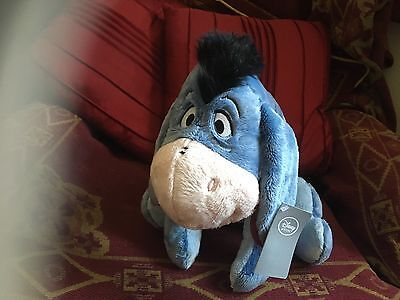 """Official Disney Winnie The Pooh 15"""" Eeyore Soft Toy Plush With Badge New Tags"""