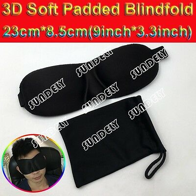 3D Soft Padded Shade Eye Blindfold Sleep Mask Travel Aid Cover Rest Relax Black