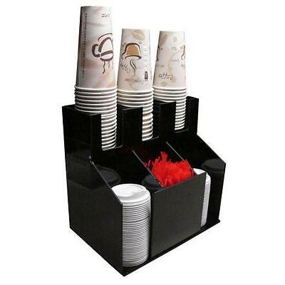 Cup and Lid Holder Dispenser Countertop Organizer 3wx2d Coffee Condiment New