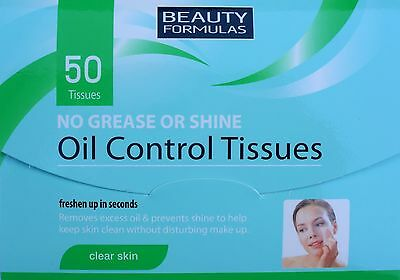 Oil Control Tissues x50 No Grease or Shine Absorbing Excess Oil - Blotting Paper