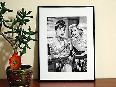 MARILYN MONROE AUDREY HEPBURN TATTOO PARLOUR - A4 Glossy Poster - FREE Shipping