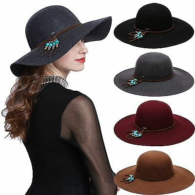 6a7962d3f2e819 Vintage Women's Crushable Pure Wool Wide Brim Floppy Fedora Hat Braid Band  Beads
