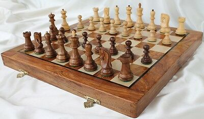 "Zagreb 59 Staunton Chess Set with 82mm (3.25"") King in Golden Rosewood, 41cm ..."