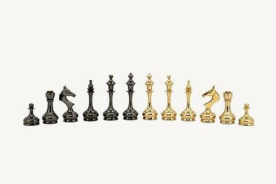 The New Sleek Ultra Modern Brass Luxury Chess Pieces Set with 95mm (3.75   ) ...