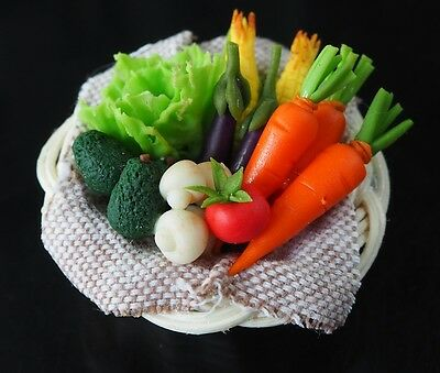 Dollhouse Miniature Mixed Vegetables on a Rattan Basket Kitchen Food Supply Deco