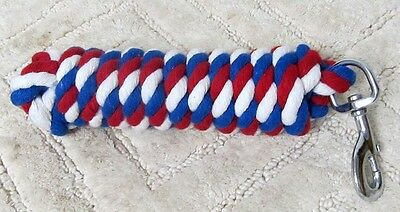 Patriotic USA Red/White/Blue 10' Cotton Lead Rope Chrome Snap New Horse Tack