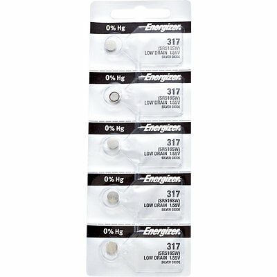 5 x Energizer 317 Watch Batteries, 0% MERCURY equivilate SR516SW