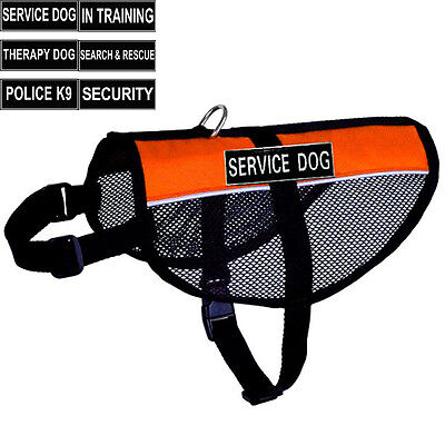 Reflective Service Dog Vest Mesh Harness With 2 Patches Small Medium Large