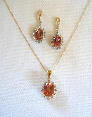 SET- 2.71 Ct. Mystic Topaz Solitaire & Diamond  10k Gold Necklace & Earrings