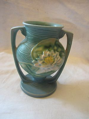 Antique Roseville Pottery Double Handle Blue Green Vase White Water Lillies