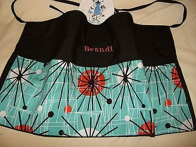 New Black Server  Apron Waitress Waist Apron Torqouise Geo W/WO Name Restaurant
