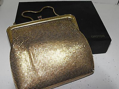 Vintage 70s Oroton Gold Mesh Large Evening Bag With Box Looks As New