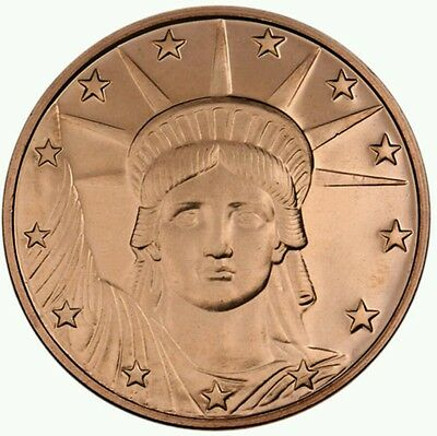 1 Troy Oz Liberty Head Copper Round (New).999 PURE COOPER