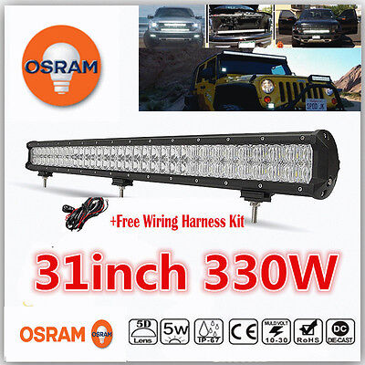 "5D OSRAM 330W 31""inch LED Combo Work Light Bar Off-road Driving Lamp 4WD Pickup"