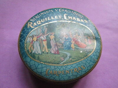 OLD French round tin /Raquillet Chabas-Carpentras/sweet box