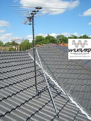 Tile Roof Tripod TV Antenna Mount +1.8m Pole. Easy Mount, No Special Tool Needed