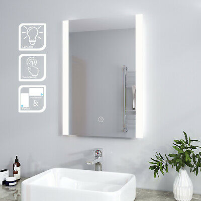Bathroom Wall Hung Illuminated LED Mirror Demister Pad Horizontal |Touch Control